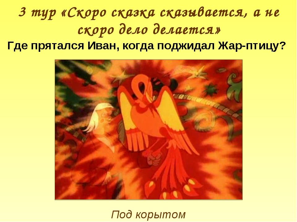 3 тур «Скоро сказка сказывается, а не скоро дело делается» Где прятался Иван,...