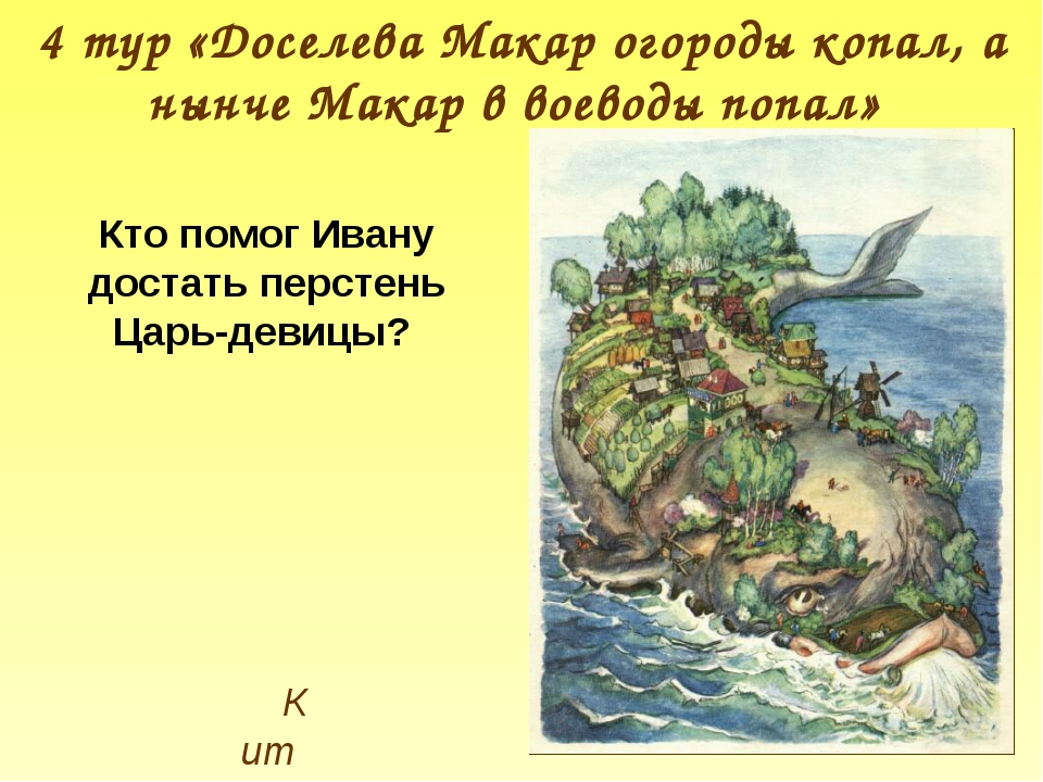 Кит 4 тур «Доселева Макар огороды копал, а нынче Макар в воеводы попал» Кто п...