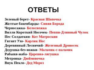 Зеленый берет- Красная Шапочка Желтые бакенбарды- Синяя Борода Черносажка- Бе