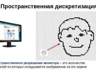 Пространственная дискретизация Пространственное разрешение монитора – это кол