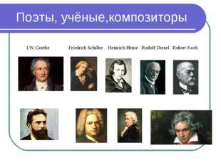 Поэты, учёные,композиторы I.W.Goethe Friedrich Schiller Heinrich Heine Rudolf