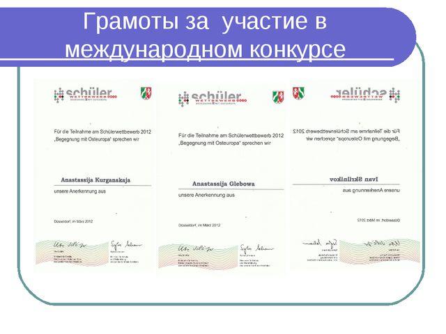 Грамоты за участие в международном конкурсе