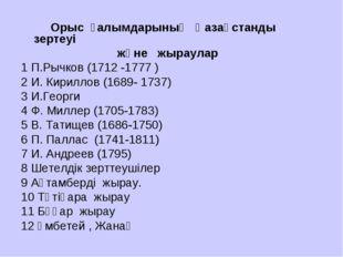 Орыс ғалымдарының Қазақстанды зертеуі және жыраулар 1 П.Рычков (1712 -1777 )
