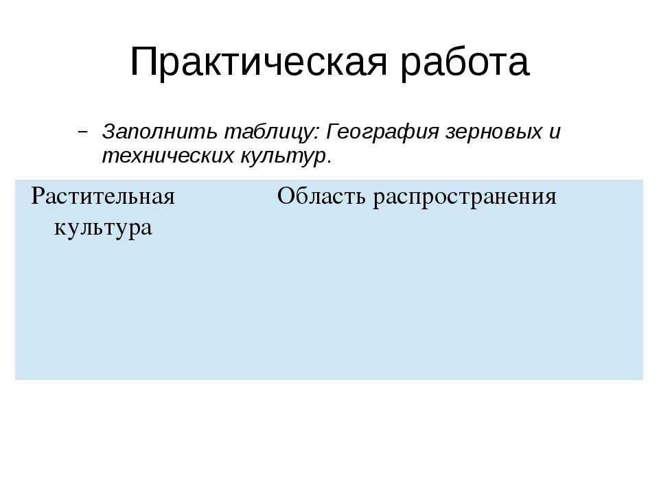 Практическая работа Заполнить таблицу: География зерновых и технических культ...