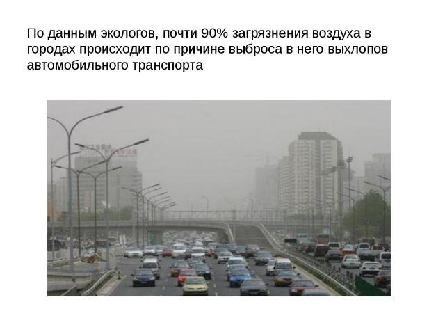 По данным экологов, почти 90% загрязнения воздуха в городах происходит по при...