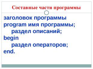 Составные части программы заголовок программы рrogram имя программы; раздел о