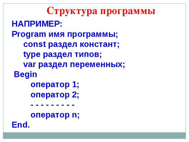 Структура программы НАПРИМЕР: Program имя программы; const раздел констант; t...