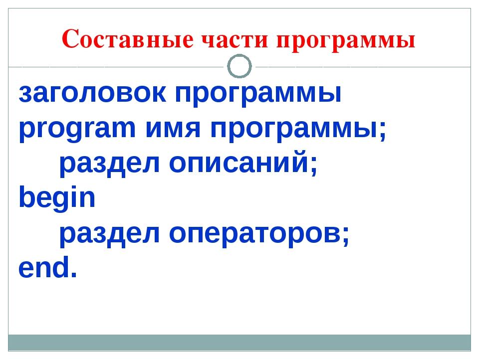 Составные части программы заголовок программы рrogram имя программы; раздел о...