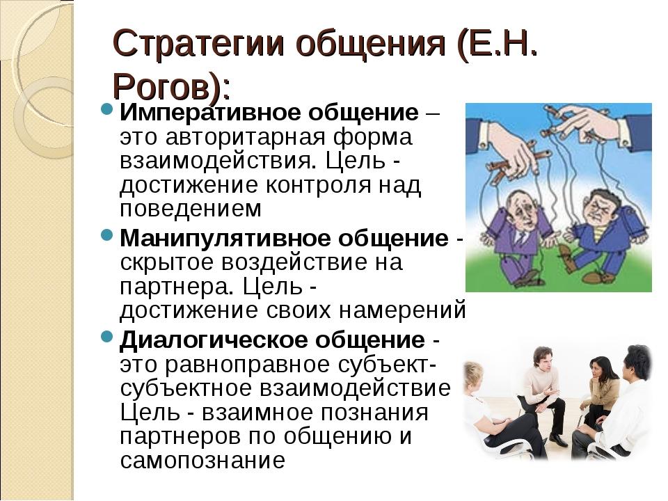 Стратегии общения (Е.Н. Рогов): Императивное общение – это авторитарная форма...