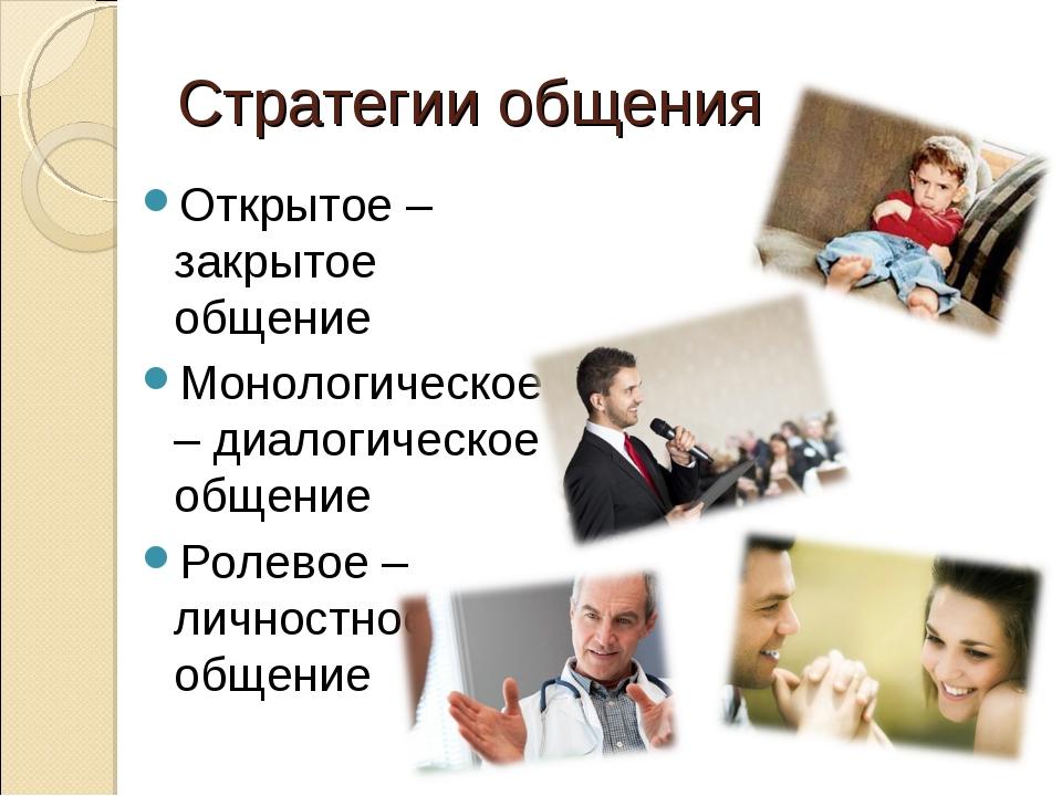 Стратегии общения Открытое – закрытое общение Монологическое – диалогическое...