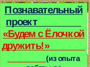Познавательный проект «Будем с Ёлочкой дружить!» (из опыта работы по экологич