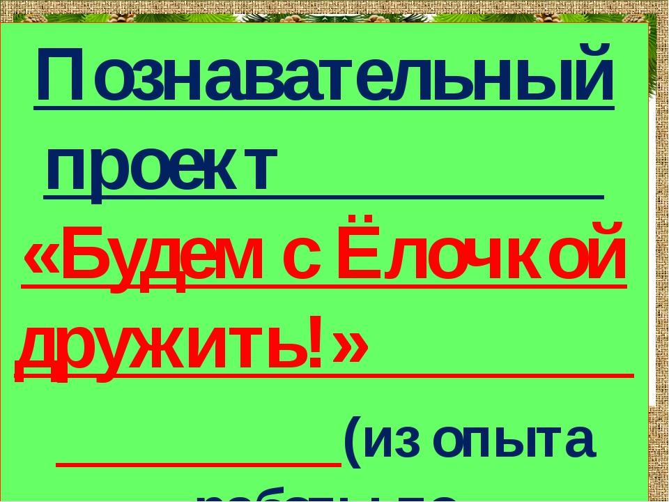 Познавательный проект «Будем с Ёлочкой дружить!» (из опыта работы по экологич...