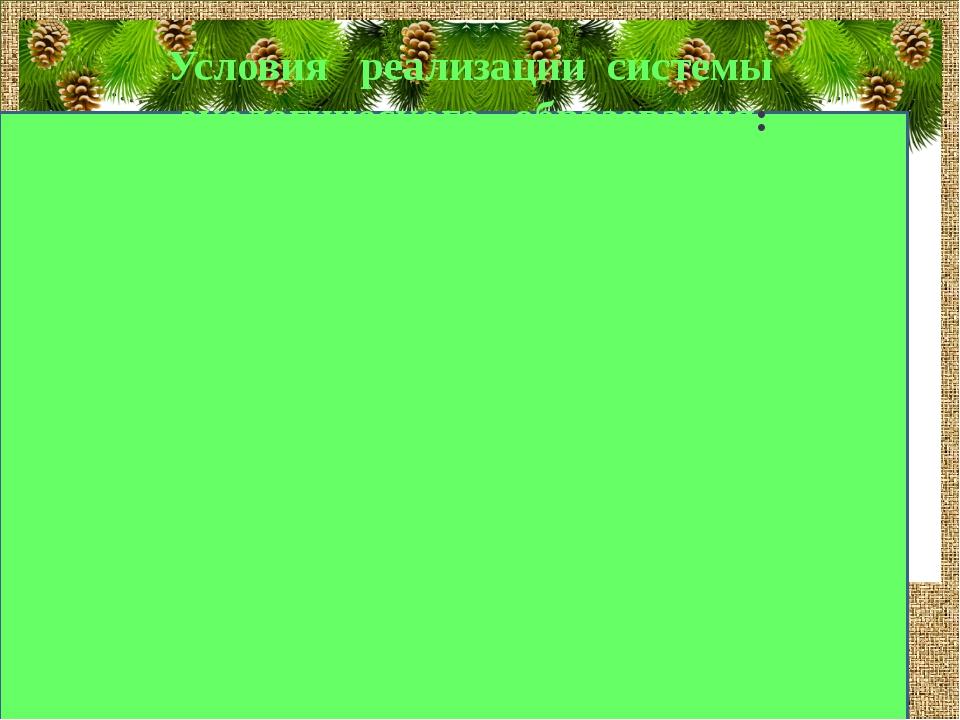 Условия реализации системы экологического образования: FokinaLida.75@mail.ru