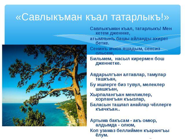 «Савлыкъман къал татарлыкъ!» Савлыкъман къал, татарлыкъ! Мен кетем дженнке, а...