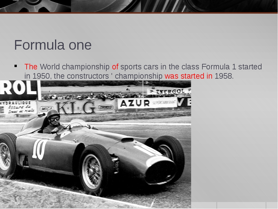 Formula one The World championship of sports cars in the class Formula 1 star...