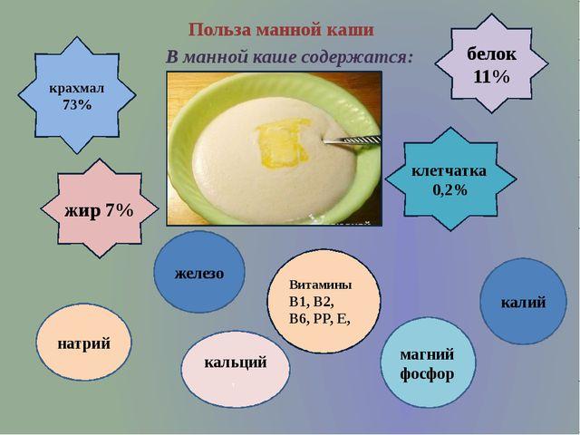 Польза манной каши В манной каше содержатся: крахмал 73% белок 11% жир 7% кле...