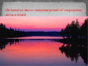 Он написал много стихотворений об очаровании лесов и полей.