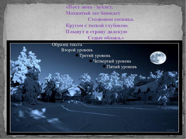 «Поет зима - аукает, Мохнатый лес баюкает  Стозвоном сосняка....
