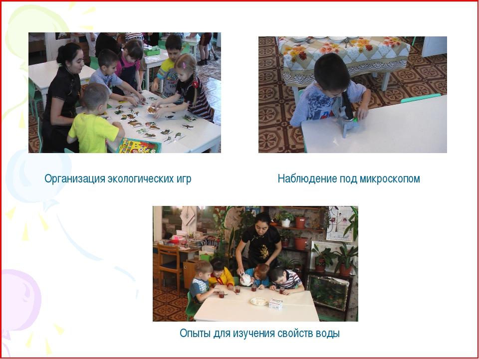 Организация экологических игр Наблюдение под микроскопом Опыты для изучения с...