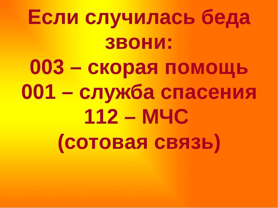 Если случилась беда звони: 003 – скорая помощь 001 – служба спасения 112 – М...
