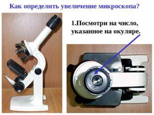 Как определить увеличение микроскопа? 1.Посмотри на число, указанное на окуля