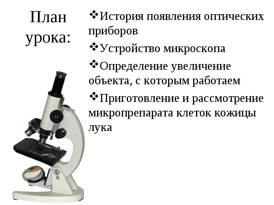 История появления оптических приборов Устройство микроскопа Определение увели...
