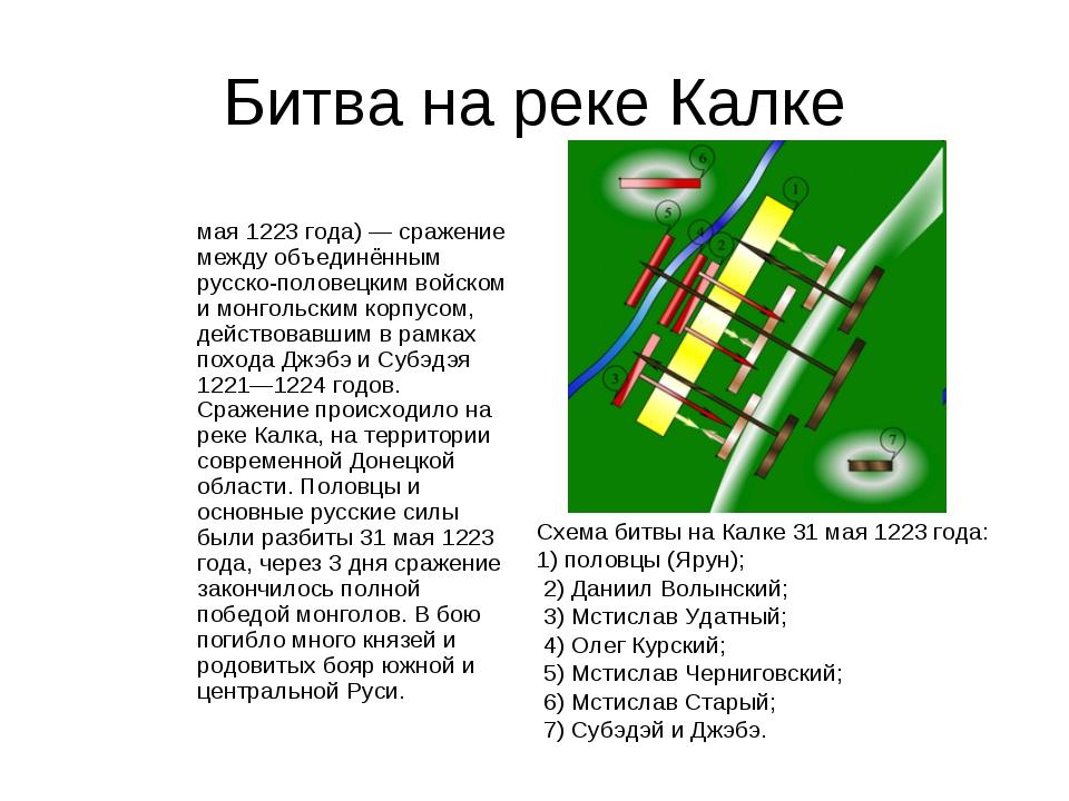 Битва на реке Калке Би́тва на реке́ Ка́лке (31 мая 1223 года) — сражение межд...