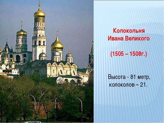 Колокольня Ивана Великого (1505 – 1508г.) Высота - 81 метр, колоколов – 21.