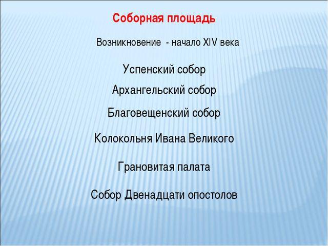 Соборная площадь Возникновение - начало XIV века Архангельский собор Успенски...