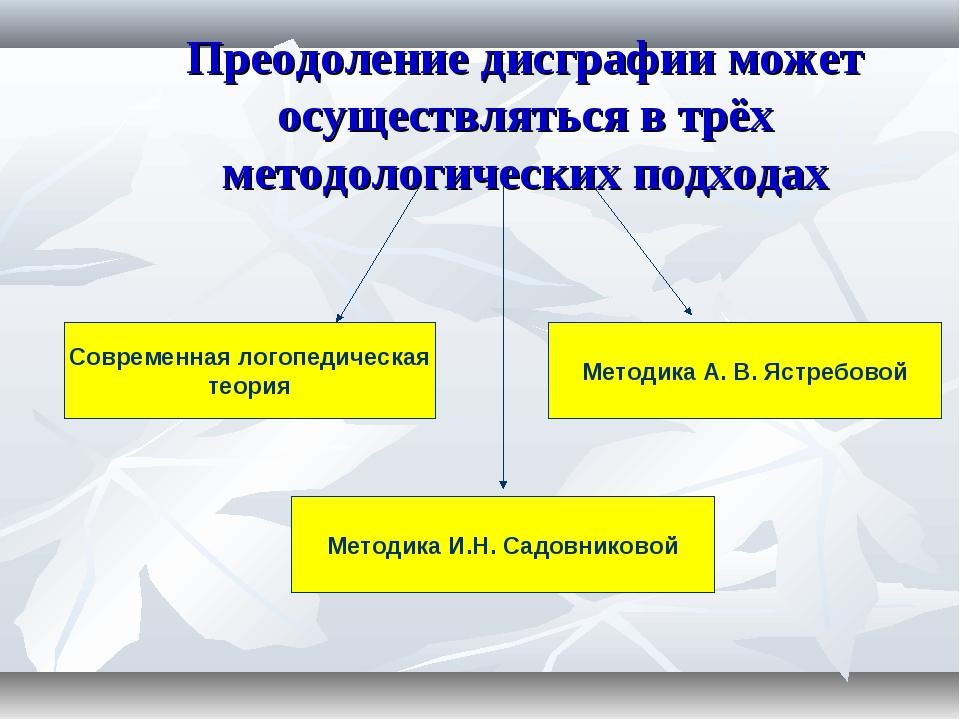 Преодоление дисграфии может осуществляться в трёх методологических подходах С...