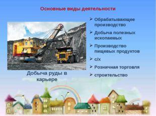 Основные виды деятельности Обрабатывающее производство Добыча полезных ископа