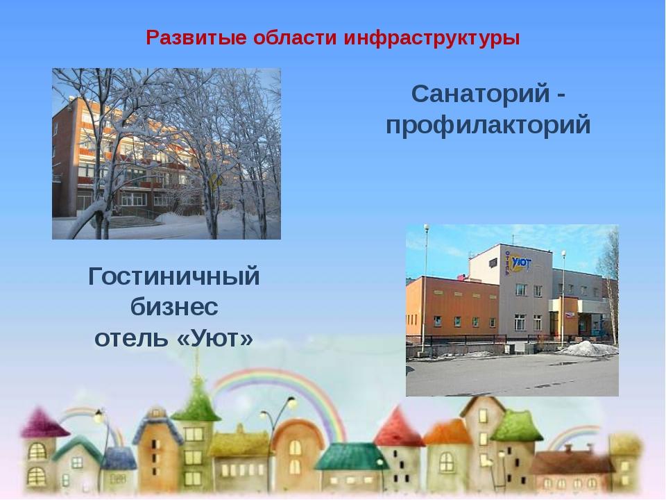 Развитые области инфраструктуры Санаторий - профилакторий Гостиничный бизнес...