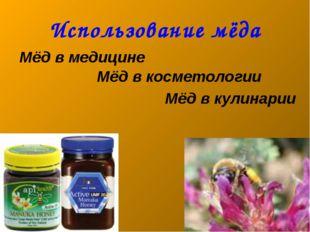 Использование мёда Мёд в медицине Мёд в косметологии Мёд в кулинарии