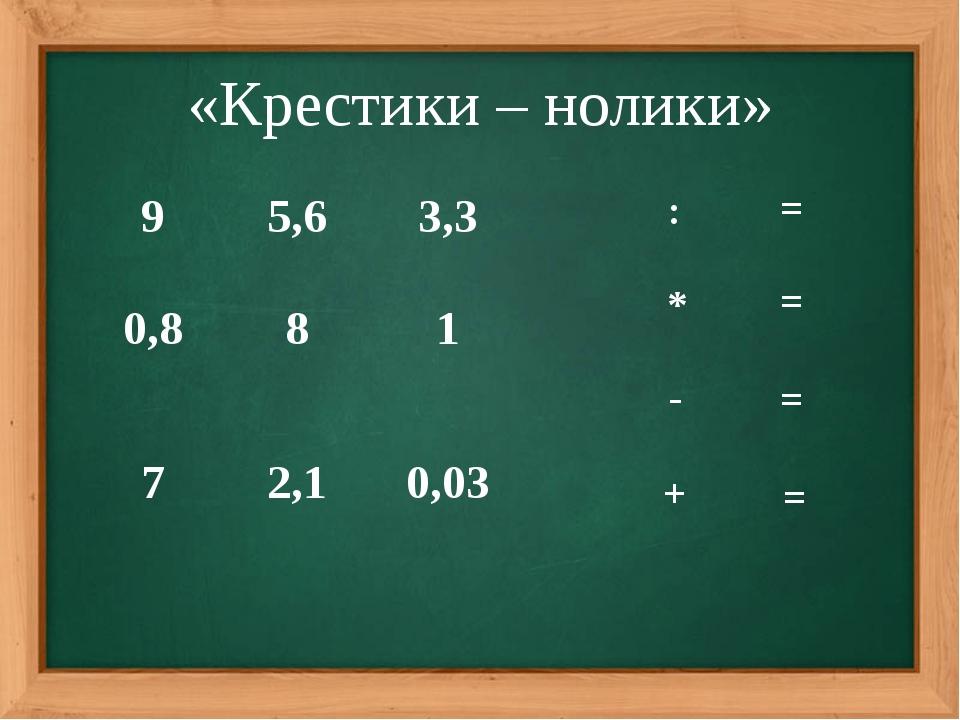 «Крестики – нолики» = = = = 9 5,6 3,3 0,8 8 1 7 2,1 0,03 : * - +