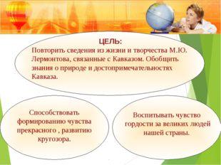 ЦЕЛЬ: Повторить сведения из жизни и творчества М.Ю. Лермонтова, связанные с