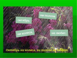 октябрь ни полоза ни колеса, не любит. Октябрь ни колеса, ни полоза не любит.