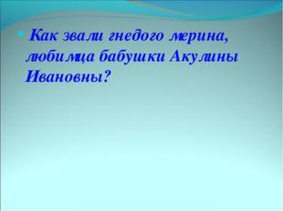 Как звали гнедого мерина, любимца бабушки Акулины Ивановны?