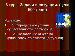 * 6 тур – Задачи и ситуации. (цена 500 тенге) Командам. 1. Определение уровня