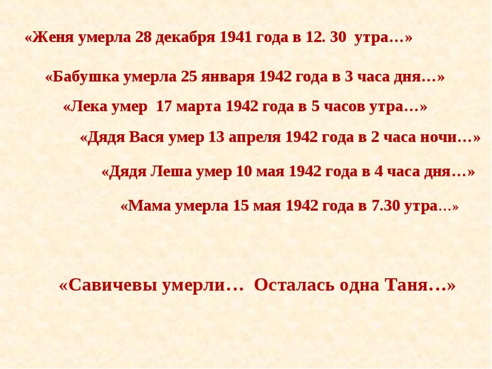 «Дядя Вася умер 13 апреля 1942 года в 2 часа ночи…» «Лека умер 17 марта 1942...