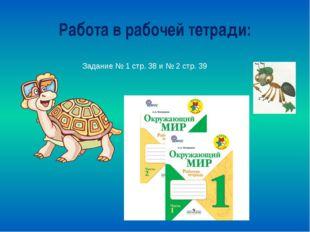 Работа в рабочей тетради: Задание № 1 стр. 38 и № 2 стр. 39