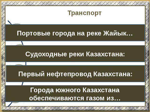 Транспорт Портовые города на реке Жайык… Судоходные реки Казахстана: Первый н...