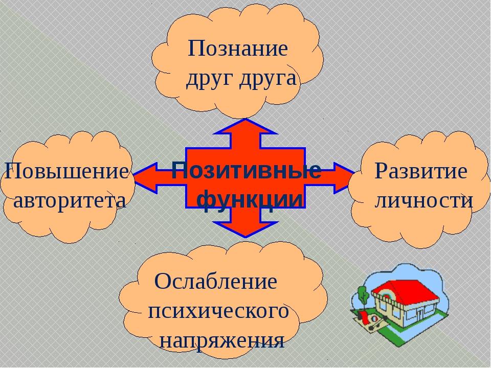 Позитивные функции Познание друг друга Развитие личности Повышение авторитет...