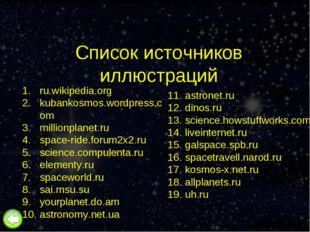 Список источников иллюстраций ru.wikipedia.org kubankosmos.wordpress.com mill