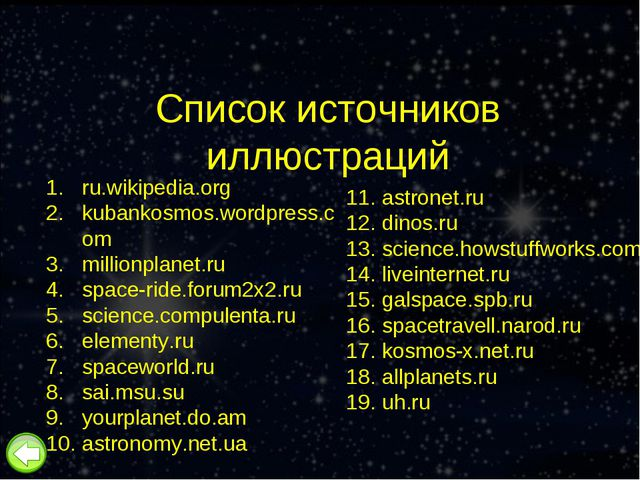 Список источников иллюстраций ru.wikipedia.org kubankosmos.wordpress.com mill...