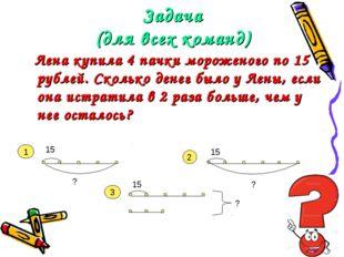 Задача (для всех команд) Лена купила 4 пачки мороженого по 15 рублей. Сколько