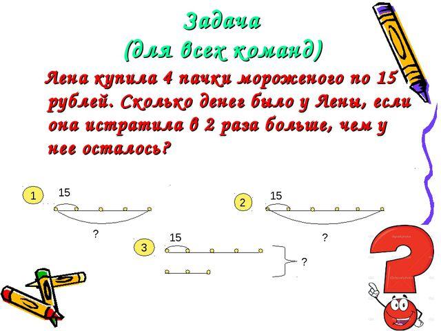 Задача (для всех команд) Лена купила 4 пачки мороженого по 15 рублей. Сколько...