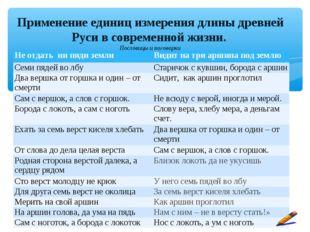 Применение единиц измерения длины древней Руси в современной жизни. Пословицы