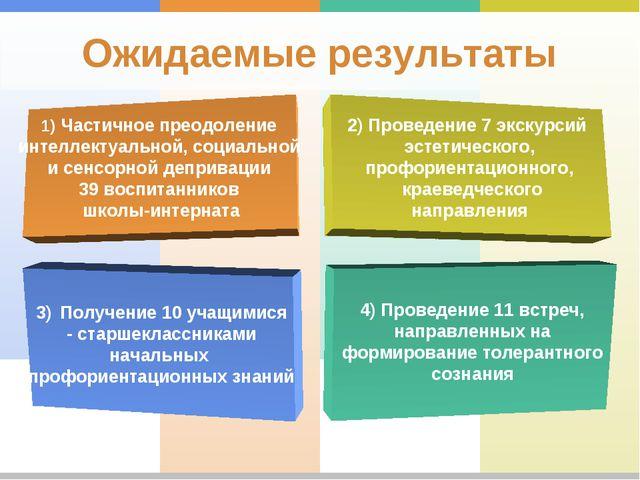 Ожидаемые результаты 1) Частичное преодоление интеллектуальной, социальной и...