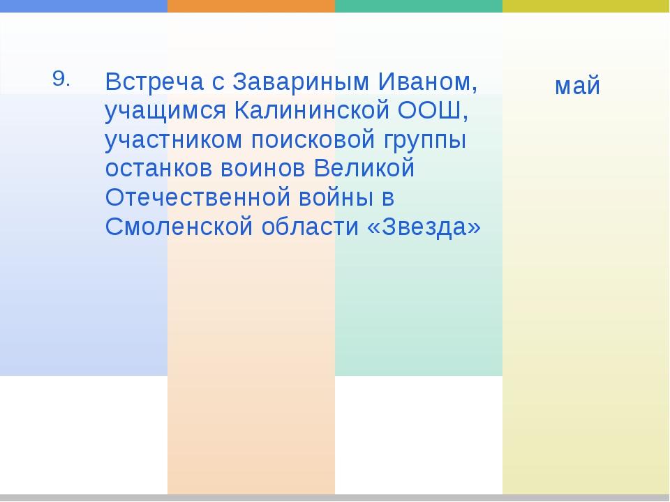 9. Встреча с Завариным Иваном, учащимся Калининской ООШ, участником поисков...
