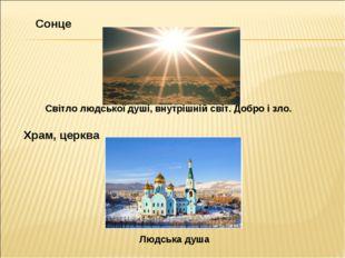 Сонце Світло людської душі, внутрішній світ. Добро і зло. Храм, церква Людськ